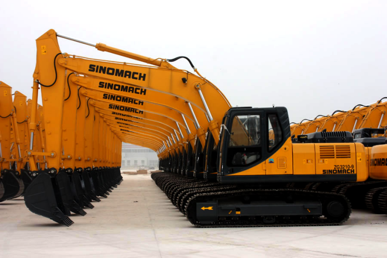 row of Sinomach excavators